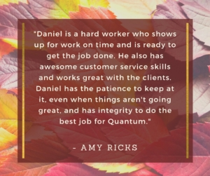 quote thanking employee daniel for his work